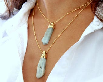 Raw Aquamarine Necklace, Crystal Necklace, Gift, Layered Necklace, March Birthstone,Raw Stone Jewelry,Gold, Bohemian Jewelry,Aquamarine Raw.