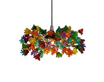 Ceiling Light Fixtures with multicolored jumping flowers for hall, bathroom, kitchen island. pendant lighting