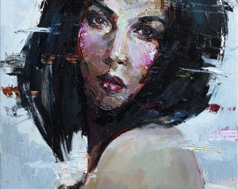 "Woman portrait - Original oil painting  19.7"" x 23.6"" Ready to hang, Fine art by Valiulina"