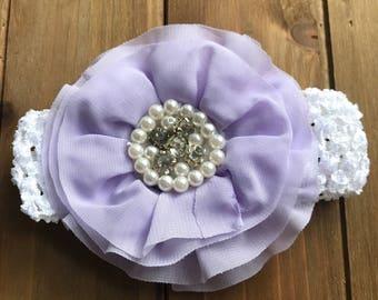 White Crochet Headband with Purple Bling Flower