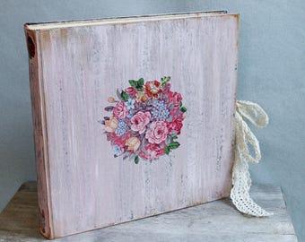 Country chic pink floral wedding photo album, boho folk art wedding guest book, 12x12'' photo album scrapbook, Made To Order