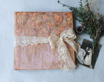 Blush rose gold traditional wedding photo album with gold gilding, large  custom made  vintage style scrapbook album, made to order  12x12