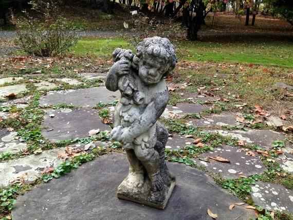 Vintage Weathered Concrete Putto Cherub Garden Statue