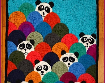 DIGITAL DOWNLOAD: PDF Crochet Pattern for the Roly Poly Panda Quilt