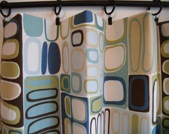 Mid Century Modern Geometric, Lined Curtain Set, Custom Size, Contemporary, Abstract Art, Kandinsky, Retro Camper, Atomic Door Curtains