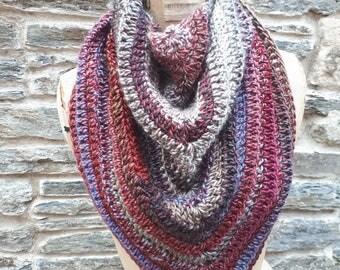 Triangle shawl light weight -Christmas--summer festival- hippy boho-mardis gras-bandana-  bridesmaids-gift -handmade in Wales