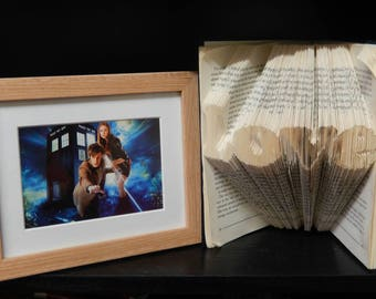 Mounted Doctor Who eleventh doctor with amy pond and tardis. genuine postcard. Wall art. Home decor.