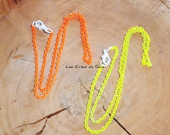 2 x neon metal mesh necklaces