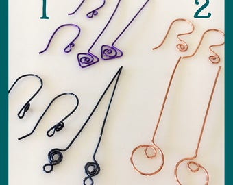 Handmade Fancy Head Pins, Jewelry Supplies, Colored Earring Findings, DIY Earring Kit,  Custom Copper Wire Headpins and Earwires