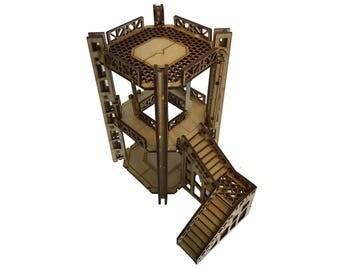 Industrial Tower A1 - 2 Level Rig Platform - Futuristic Necromunda Warhammer 40k Wargaming Building Scenery 28mm Scale