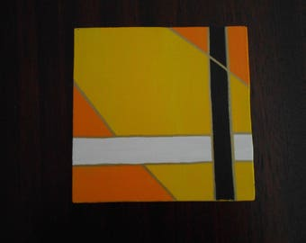 Yellow #2, Mini Geo Acrylic Painting, 6x6, Unframed