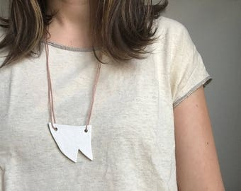 Ceramic Tooth Necklace with Cotton Cord