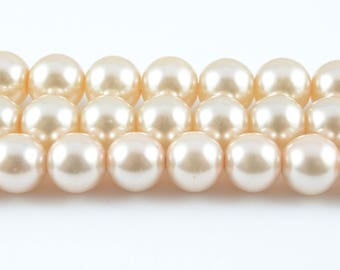 """Faux Pearl Beads, Ivory Glass Beads, 8mm - 16"""" strand (FP02)"""