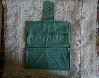 Womens Wallet~ Ladies Fabric Wallet~ Handmade Bifold Wallet~Mint Green Organizer Wallet