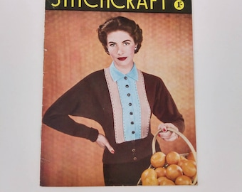 Vintage Stitchcraft Magazine - British from Sept 1953. Complete with original free transfer...