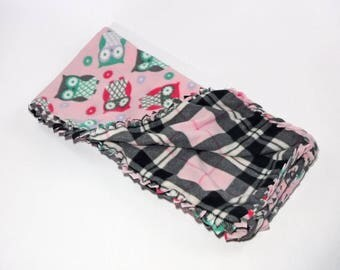 Pink Owl Fleece Blanket, No Sew Blanket, No Sew Fleece Kit, Baby Blanket, Owls, Plaid, Braided, Personalize, Embroider, Baby Shower Gift