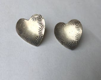 vintage sterling stamped heart stud earrings