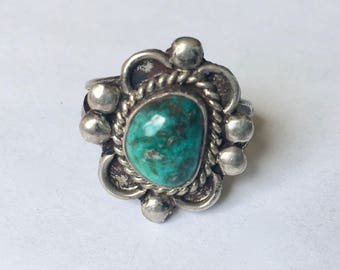vintage turquoise and sterling southwestern ring, size 7