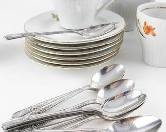 Twelve Demitasse Spoons - 'Harmony House Plate AA+' - Silverplate - 1940s - 'Maytime' Pattern - Perfect Demis - Clean Style