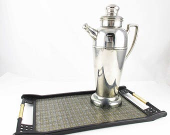 Silverplate and Stainless Carafe - 'Forbes Silver Co.' - Cork-lined Screw Cap - Tall Carafe - Domed Foot - Coffee or Cocktails