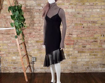 black slip dress / 90s slip dress / flutter hem dress / asymmetrical dress / lbd / grunge / little black dress / slip dress / midi dress
