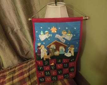 Advent Calendar for Christmas, Nativity Scene, Felt with Sewn Numbers, Beautiful