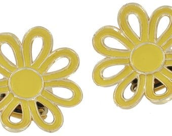 Vintage Tip Toe Enamel Yellow Flower Shoe Clips Pair Stand Up Accent 1960s