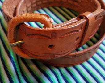 Toffee Tooled Leather Belt
