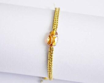 Christmasinjuly Metallic Sunshine Swarovsky Scarab Bracelet Crystal Bracelet Friendship Bracelets Woven bracelet Gold Metallic twine minimal