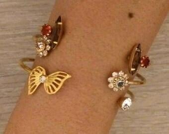 Swarovski Crystal Double Wire Cuff, Wire Cuff, Gold Cuff, Crystal Bracelet