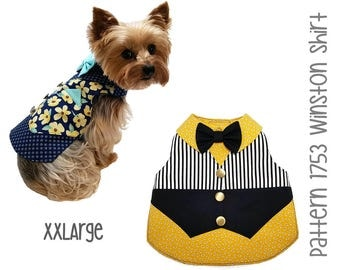 Winston Dog Shirt Pattern 1753 * XXLarge * Dog Clothes Sewing Pattern * Dog Vest Pattern * Dog Shirt Pattern * Dog Bow Tie * Dog Suit