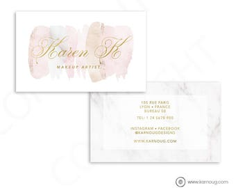 Makeup Artist Business Card Design Watercolor Marble Business Cards Custom Business Cards Printable Business Cards Gold Printable Cards