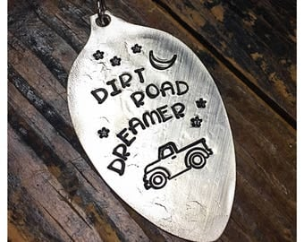 Stamped Vintage Upcycled Spoon Jewelry Pendant Charm - Dirt Road Dreamer