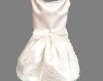 Dog Wedding Dress, White Satin and Lace