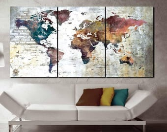 World Map 3 Pieces Canvas Panels Art,Large World Map,World Map Wall Art,World Map Push Pin,World Map Canvas,World Map Art Print,World Map