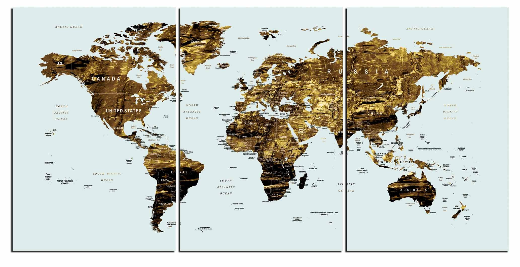 Gold Color Map ArtWorld Canvas Wall ArtLarge
