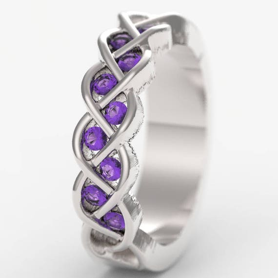 Celtic Wedding Amethyst CZ Stone Ring With Braided Knot Design in Sterling Silver, Made in Your Size CR-1005