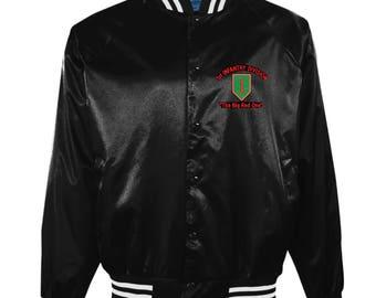 """1st Infantry Division Emblem"""" The Big Red One """" Vietnam Veteran""""  2-Sided Black Satin Jacket"""