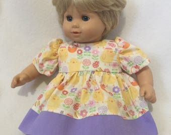 """Doll Clothes - Bitty Baby Dress - 15"""" Doll Dress - Dress for Bitty Twin -  Baby Doll Outfit - Easter Doll Dress - Chicks - American Made"""