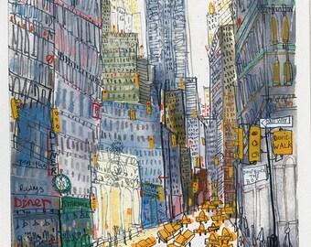 CHRYSLER BUILDING NY, New York art print, City Nyc Drawing, Manhattan Wall Art, City Skyscrapers Nyc, Chrysler Art Print, Limited Edition
