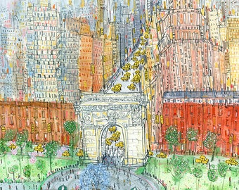 WASHINGTON SQUARE PARK Print New York painting, Nyc Wall Art, City Skyscrapers, Manhattan Art Print Limited Edition, New York Taxis Drawing