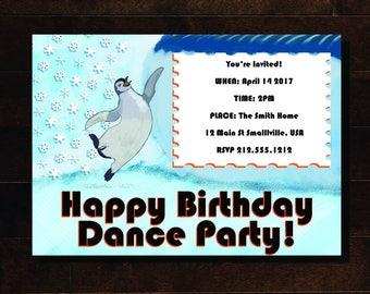 Happy Feet Dance Party Invite