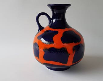 Jasba handled Fat Lava vase