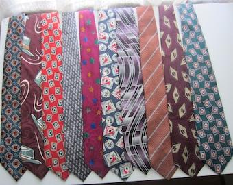 10 Silk Mens 1980-1990s Neckties