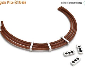 30% OFF Triple Strand Separator for Leather Cords - Beading - Antique Silver - High Quality Metal Casting - Quantity 4