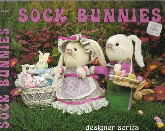 1981 Craft Pattern Booklet - SOCK BUNNIES PATTERNS - Designer Series by Gick Publishing - Bunnies for All Ocasions - Easy Instructions