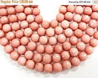 "25% OFF 10mm Coral Pink Jade - Round Gemstone Beads, Faceted 15"" Strand, 38 pcs, Pink blush Gemstone beads - SJA205"