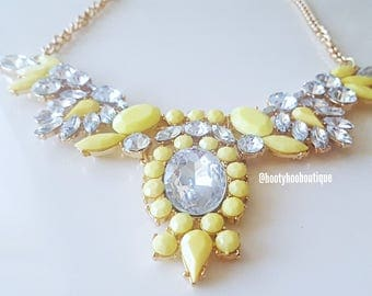 Statement Necklace YELLOW Crystal Statement Necklace Gold Bib Necklace Weddings BRIDESMAIDS Necklace BoHo Chic chunky necklace Prom Necklace