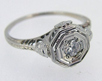 Art Deco 14kt White Gold Filigree .15ct Diamond Ring