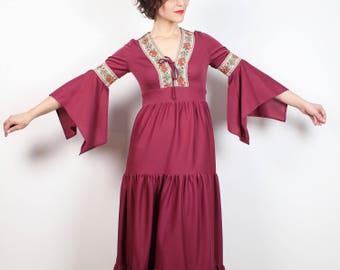 Vestito vintage Hippie abito rosa anni 70 Bell Angelo Flutter manica Boho Abito Maxi cucita a livelli Boho anni 1970 Dress Festival XS S piccolo abito gonna
